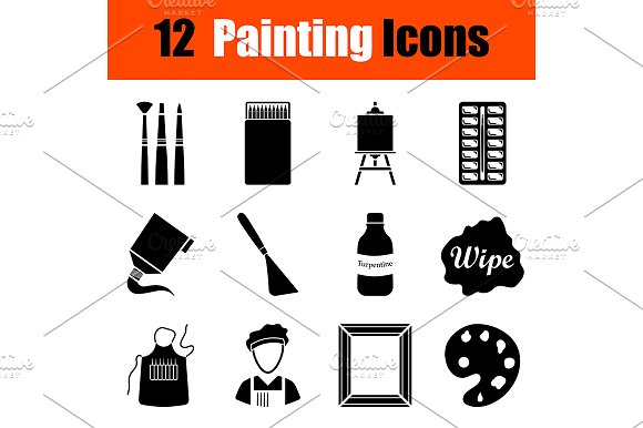 Set of painting icons in Graphics