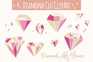 Pink Diamonds Clip Art - Vector