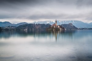 Lake Bled on a cloudy spring day