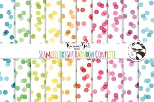 Seamless Bright Rainbow Confetti
