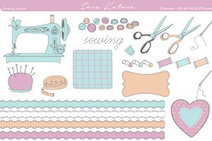Sewing Clipart - EPS and 300 dpi PNG