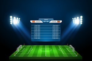 Set of vector soccer field 12 in 1