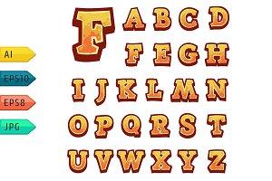 Orange vector stone game alphabet