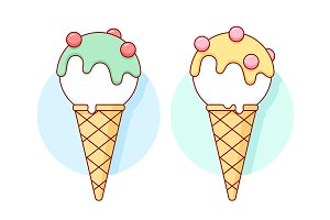 Icon white ice cream scoop in cones