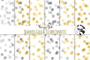 Seamless Gold & Silver Confetti