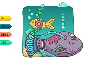 Aquarium vector icon with fishes.