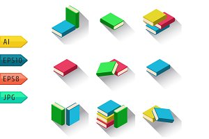 Set of stacks of multi colored books