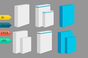 Set of vector blank product boxes.