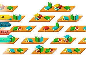 Pattern with colored books shelfs.