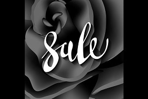 black rose  sale. lettering. vector.