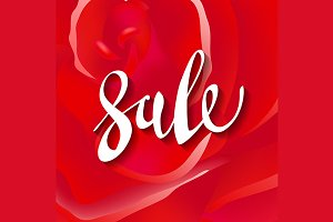 red roses. sale lettering. vector