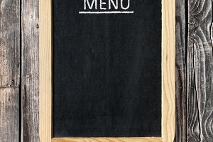 Menu board on wall
