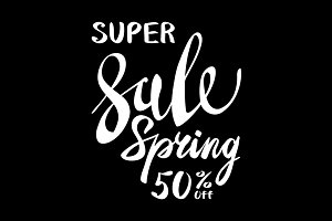 super Spring Sale Lettering vector
