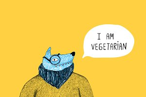 Vegetarian wolf illustration
