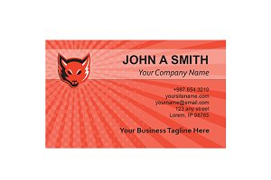 Business Card Template Red Fox Head
