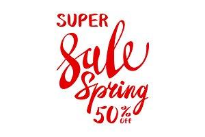 spring sale lettering vector