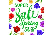 Spring sale lettering tulips vector