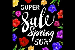 Vector sale spring sign with black