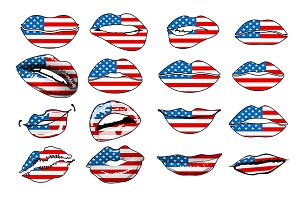 Flags of the USA in sensuality lips