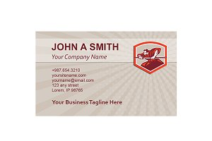 Business Card Template Samurai Drawi