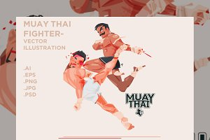 Muay Thai - Vector illustration
