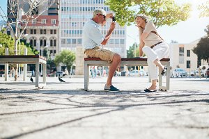 Mature couple photographing
