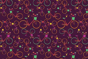 Vector bike seamless patterns.