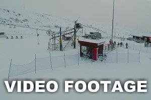 Flying over ski lift