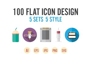 100 flat icon design - 5 set