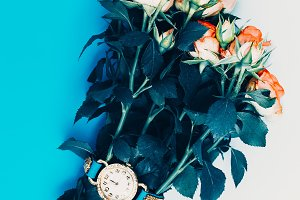 Stylish green watch with flowers