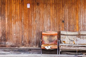 Old wood wall and old furniture