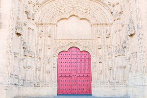 Salamanca Cathedral main door with an extremely carved wall.