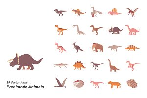 Prehistoric Animals color vector