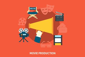 Movie production. Flat design