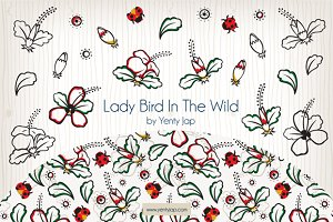 Lady Bird Vector Seamless Pattern