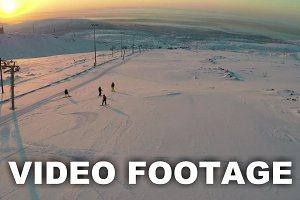 Aerial view of skiers