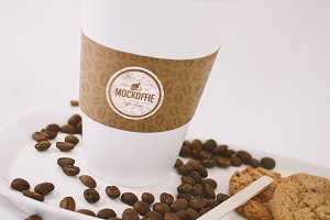 Large Coffee Cup with Sleeve Mockup