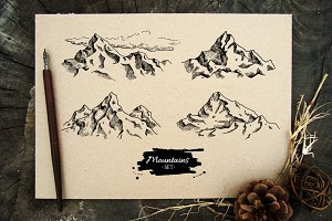 Mountain Vintage Sketches