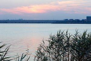 Evening lake scenery.
