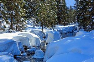 Small winter mountain stream.
