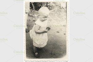 baby walk.Retro photo.