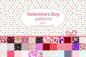 36 Valentine's Day seamles patterns