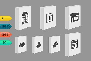 Set of Product Boxes with Icons.