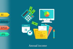 Report and income flat concept.