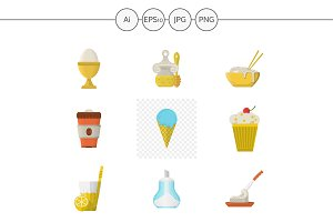 Breakfast menu flat icons. Set 2