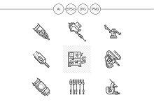 Tattoo equipment black icons. Set 2
