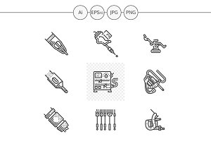 Tattoo equipment black icons. Set 2