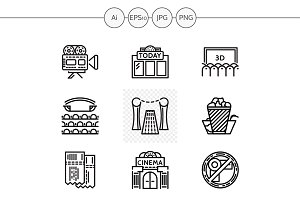 Cinema black line vector icons set