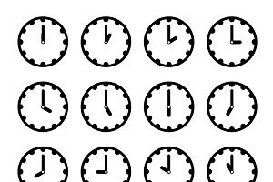 Clock faces simple black icons
