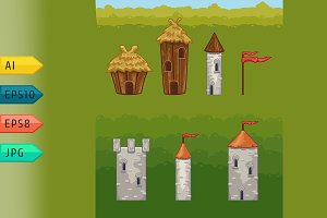 Castles and fortresses vector icons.
